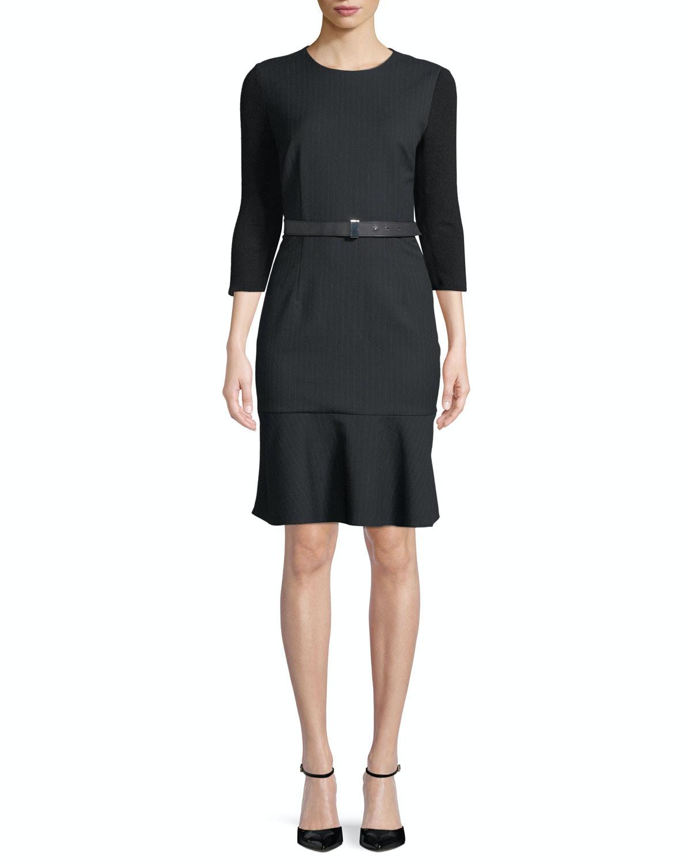 Storm Jewel-Neck 3/4-Sleeve Belted Pinstripe Dress With Flounce Hem