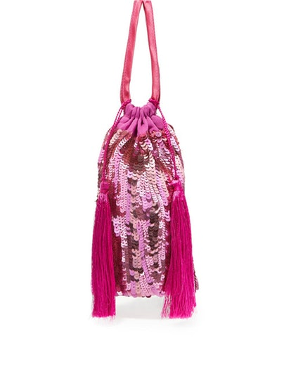 Tasseled Sequined Chiffon Pouch