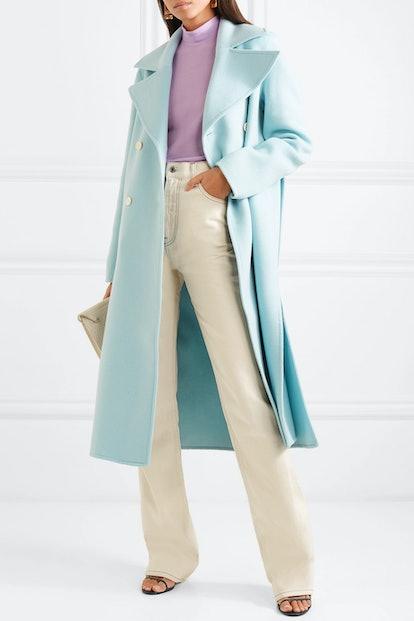 Simone Belted Wool-Blend Felt Coat