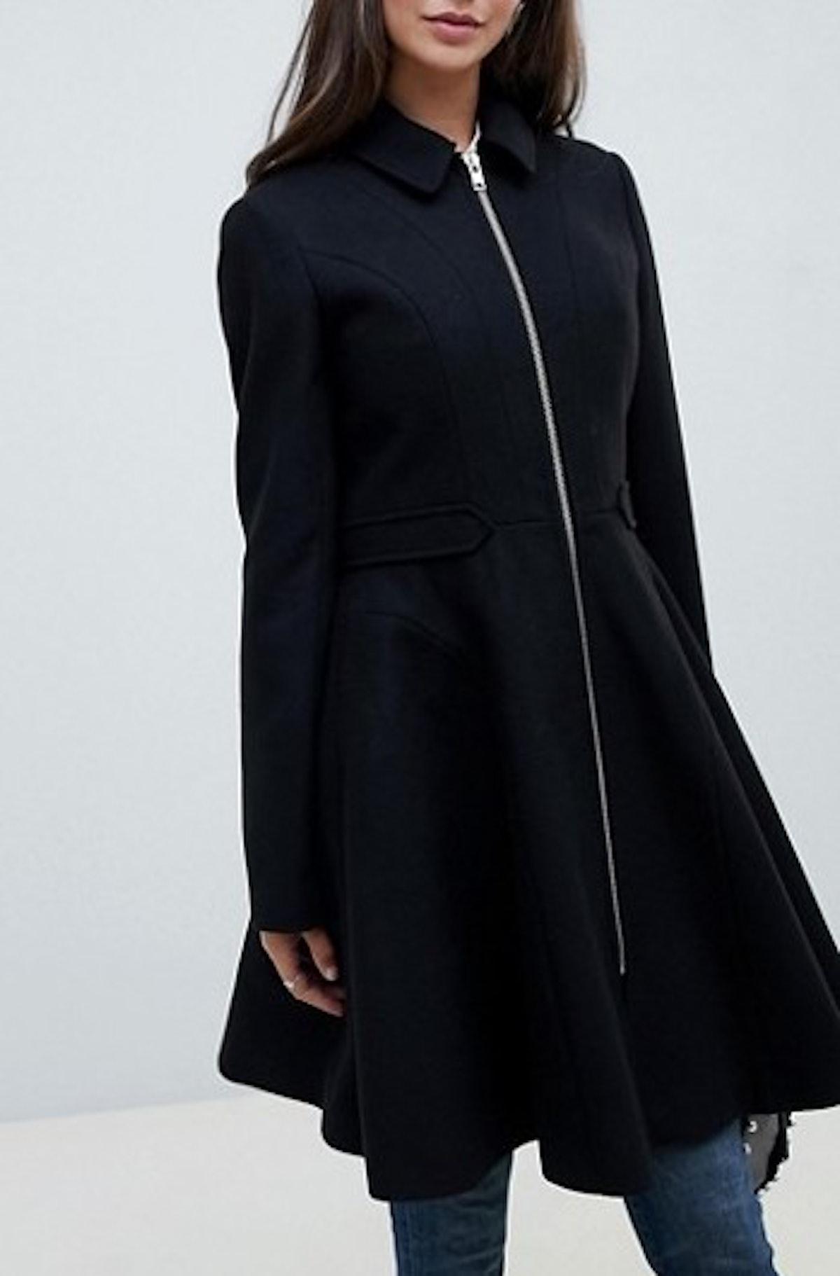 Swing Coat With Zip Front