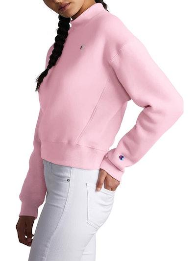 Mock Neck Reverse Panel Crop Sweatshirt