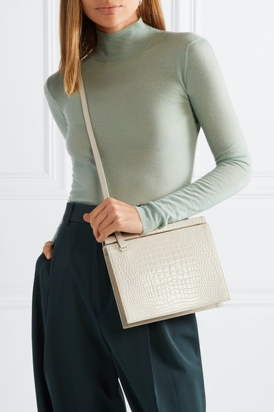 Croc-Effect Leather Shoulder Bag