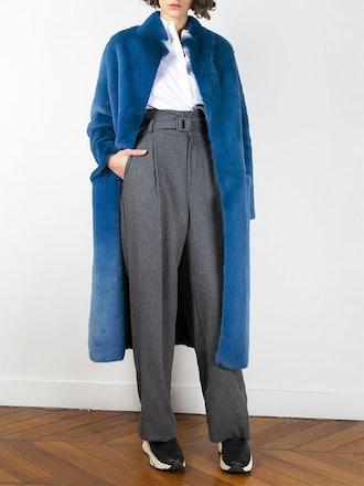 Teal Blue Faux Fur Coat