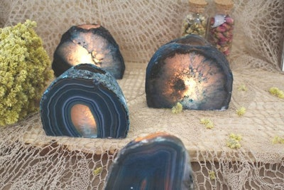 Teal Agate Candle Holder