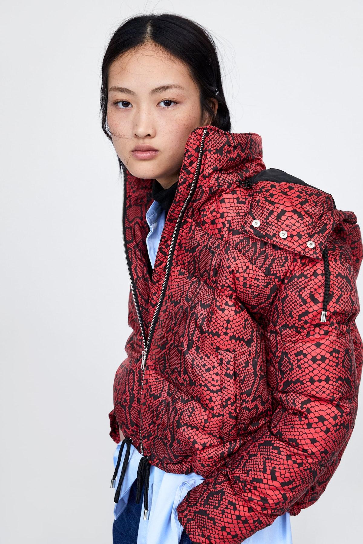 Animal Print Puffer Jacket
