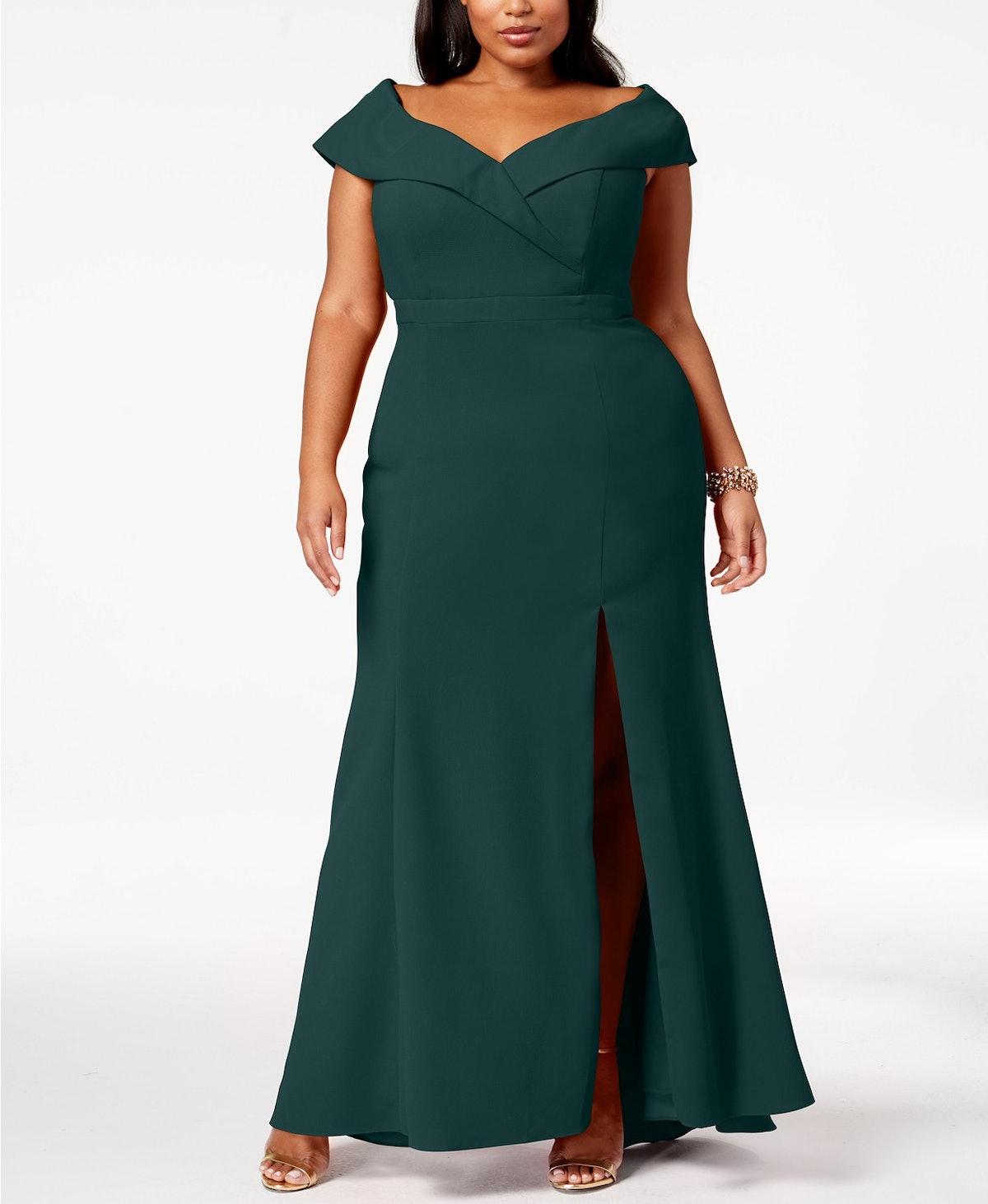 Off-The-Shoulder Slit Gown