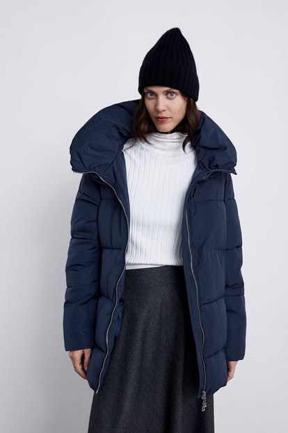 Puffer Jacket With High Collar