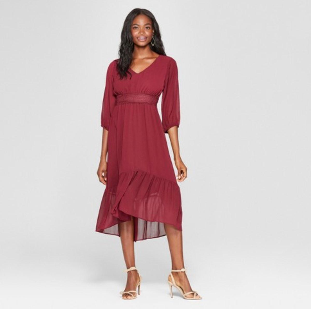 Xhilaration Long Sleeve V-Neck Hi Low Hem Midi Dress