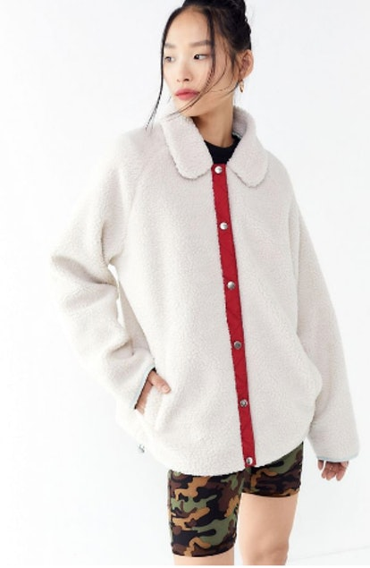UO Sherpa Fleece Snap Button-Down Jacket