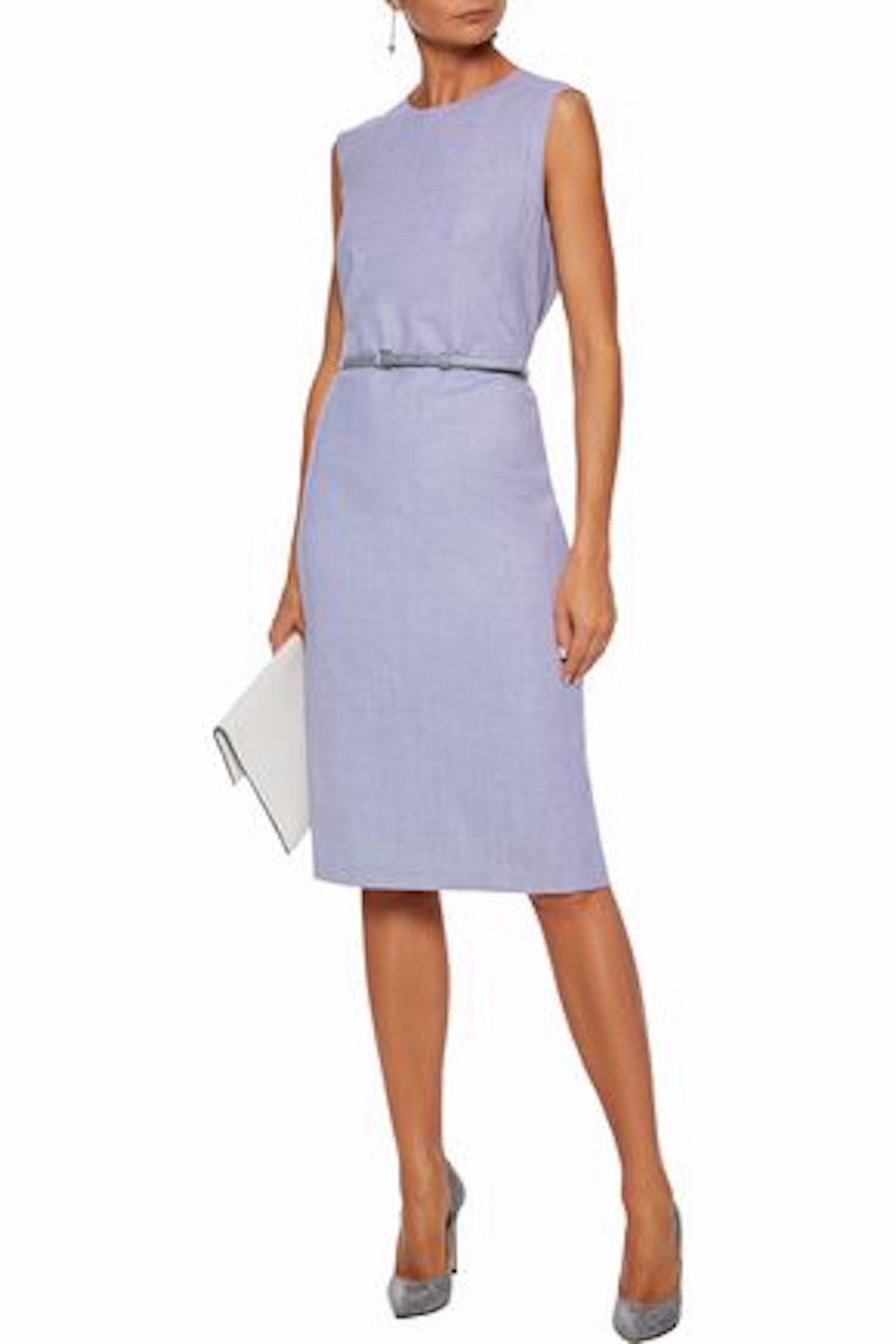 Glassa Belted Stretch-Wool Dress