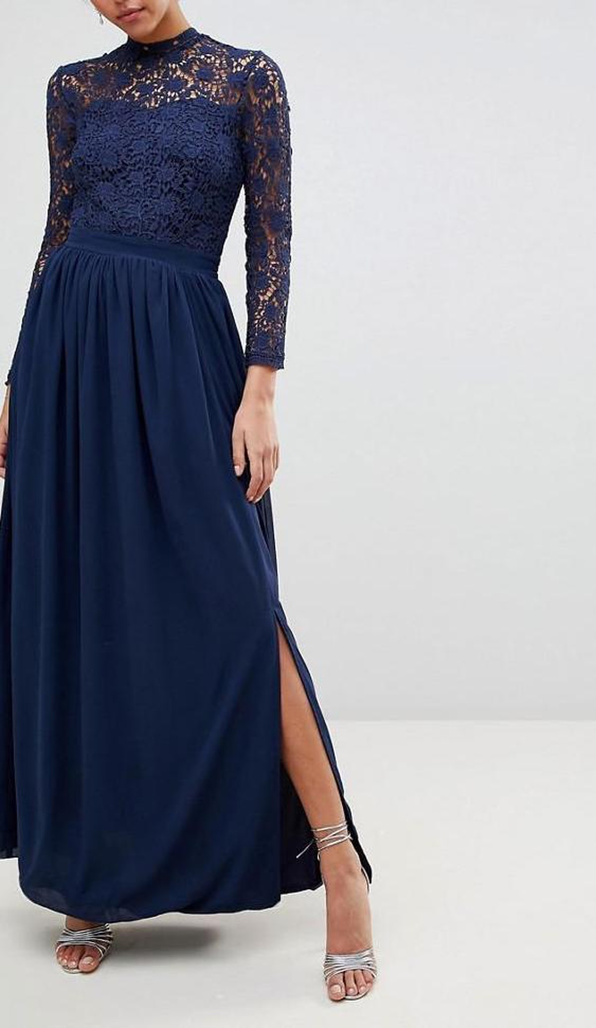 Club L High Neck Crochet Lace Maxi Dress With Long Sleeves
