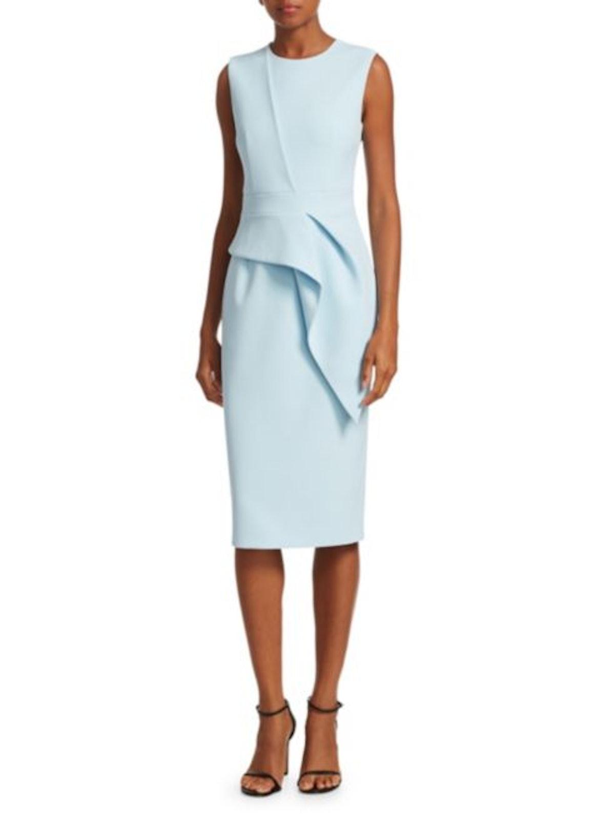 Peplum V-Neck Cocktail Sheath Dress