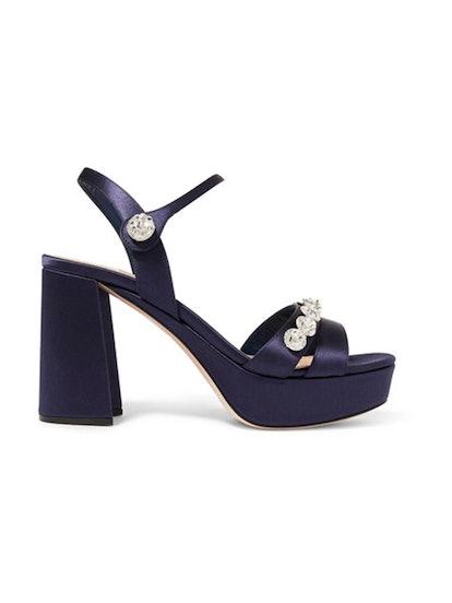 Crystal-Embellished Satin Platform Sandals