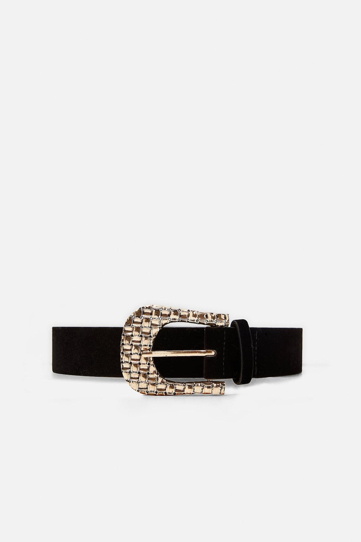 Velvet Belt With Scrolled Buckle
