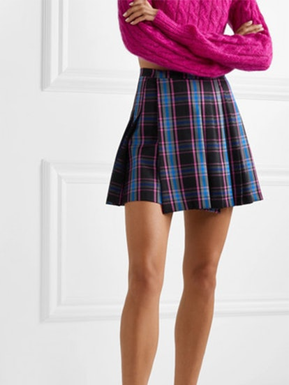 Pleated Checked Wool-Blend Mini Skirt