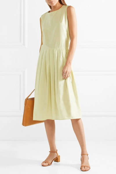 Pleated Silk And Cotton-Blend Midi Dress