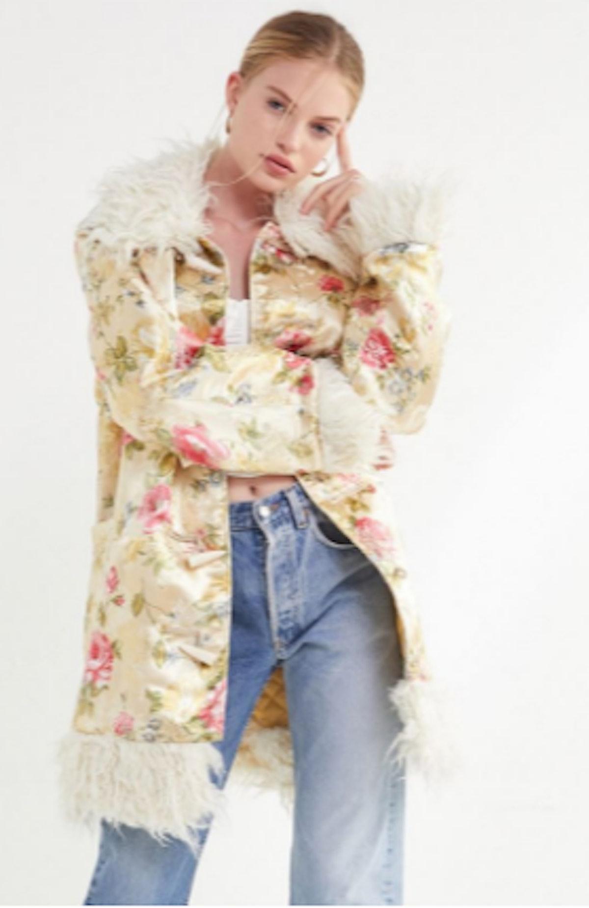 UO Suzani Oversized Faux Fur Trim Coat