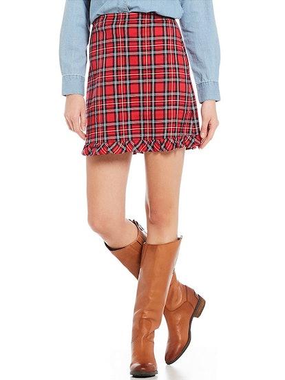 Plaid Ruffle Hem Pencil Skirt