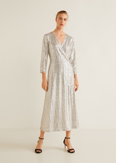 Sequined Gown in Silver