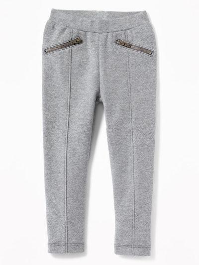 Ponte-Knit Zip-Pocket Stevie Pants for Toddler Girls