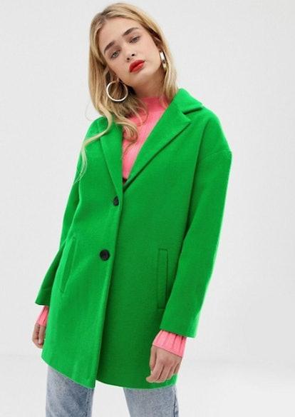 Stradivarius single breasted coat in green