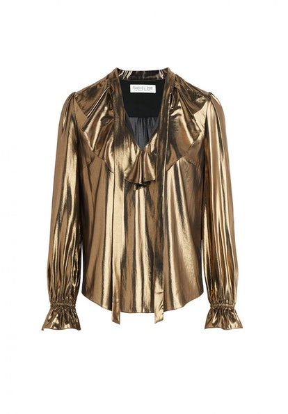 Ruby Gold Lamé Ruffled Blouse