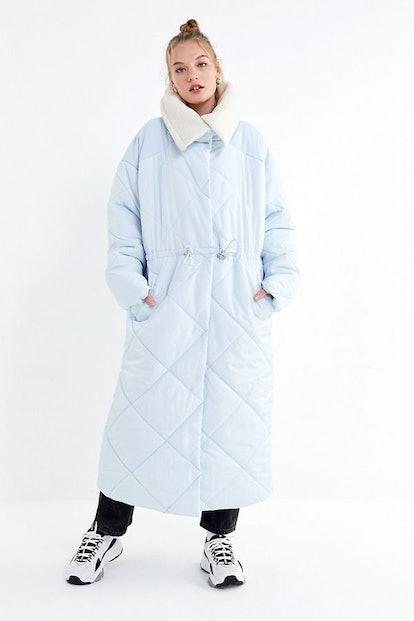 UO Longline Sherpa Trim Puffer Coat