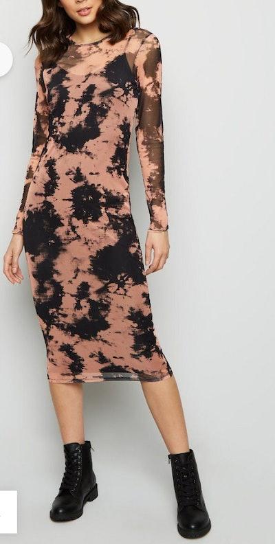 Black Tie Dye Mesh Dress