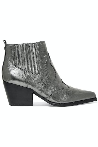 Sam Edelman Winona Metallic Textured-Leather Ankle Boots