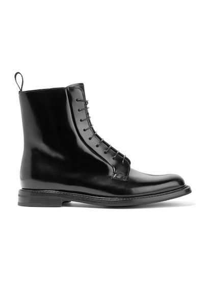 Alexandra Glossed-Leather Ankle Boots