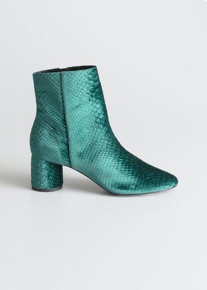 Velvet Snake Ankle Boots