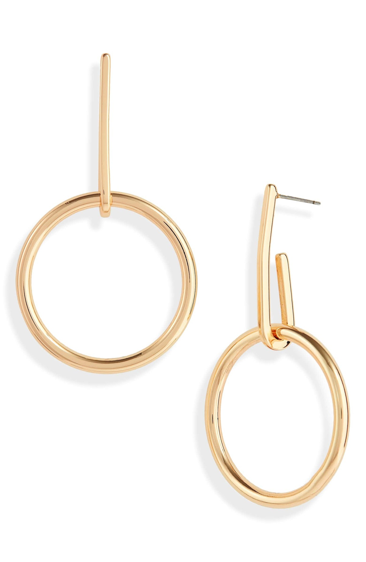 Halogen Curved Bar & Circle Drop Earrings