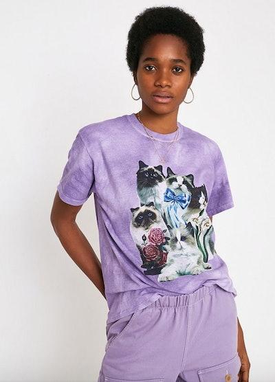 UO Cat Print Tie Dye T-Shirt
