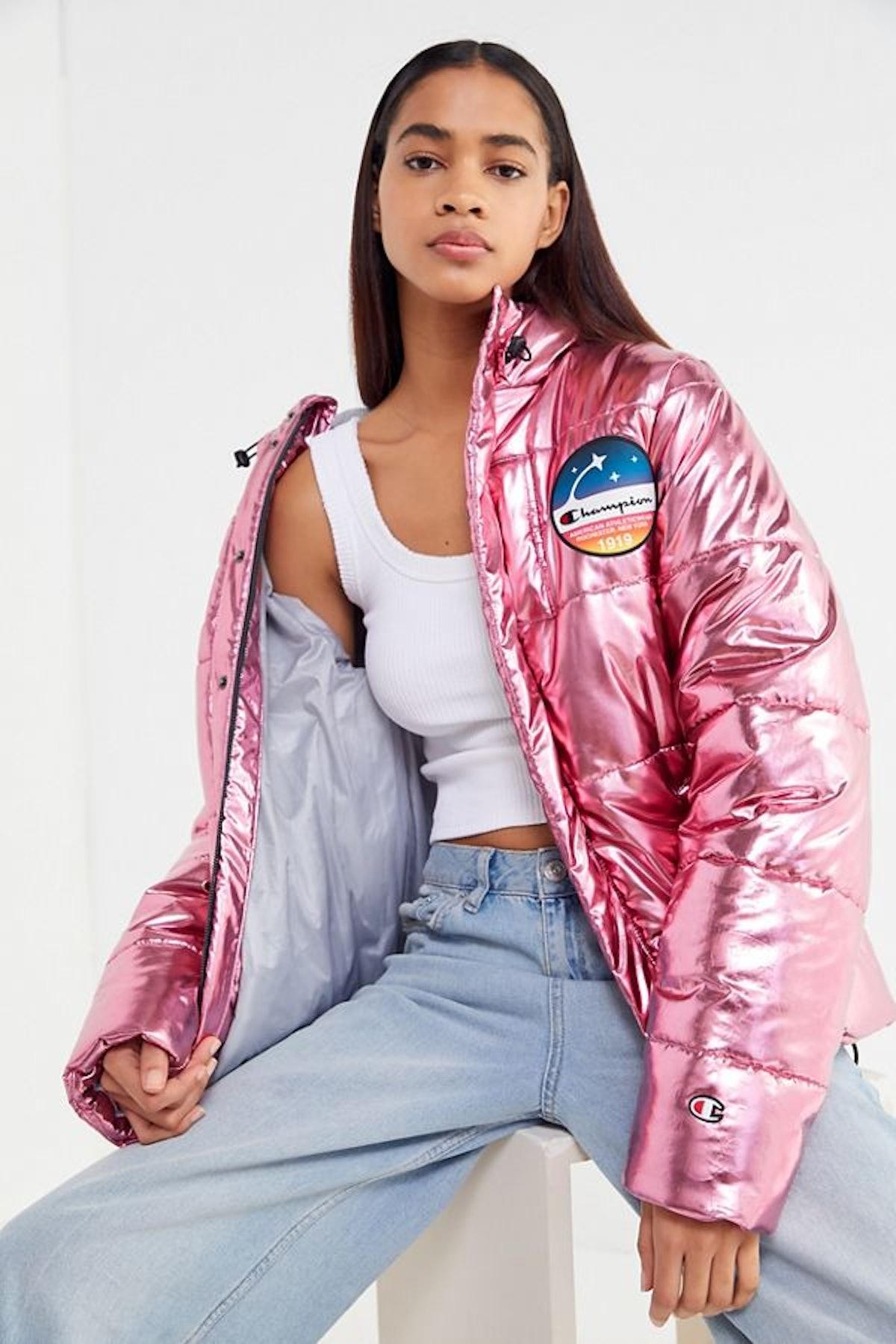 Champion Metallic Zip-Front Puffer Coat