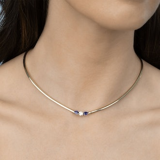 Diamond and Blue Sapphire Darling Necklace