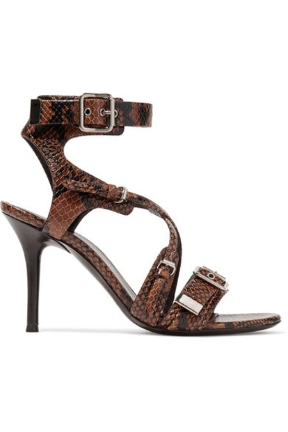 Scottie Snake-Effect Leather Sandals