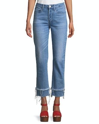 W3 Petal Slim Straight-Leg Cropped Jeans