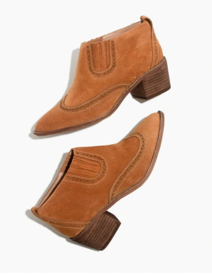 The Grayson Brogue Chelsea Boot in Amber Brown