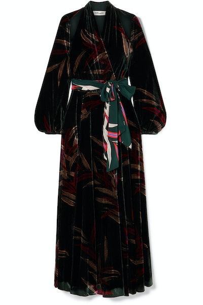 Diane von Furstenberg Cutout Printed Velvet Wrap Maxi Dress