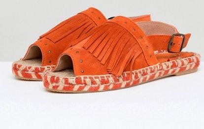 Kaltur Orange Fringed Espadrille Sandals