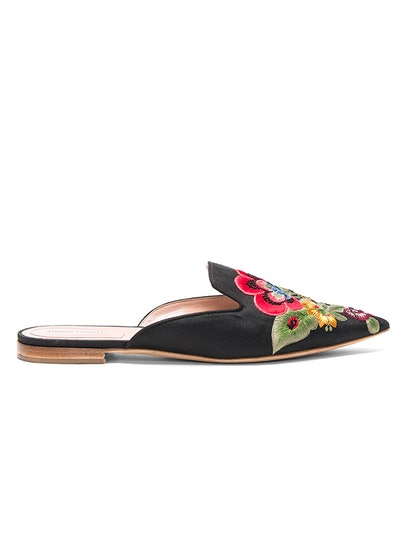 Flower Embroidered Mules