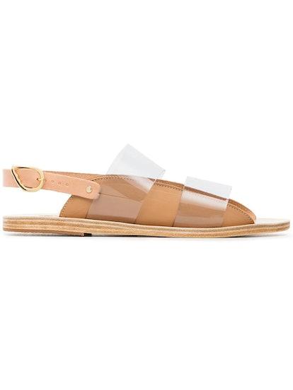 ANCIENT GREEK SANDALS tan dinami PVC and leather sandals