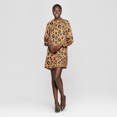 Women's Leopard Print Long Sleeve Tie Shift Mini Dress - Who What Wear Brown