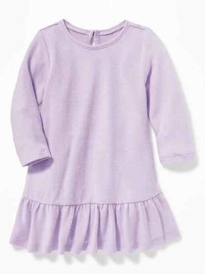 Plush-Knit Peplum-Hem Swing Dress for Baby