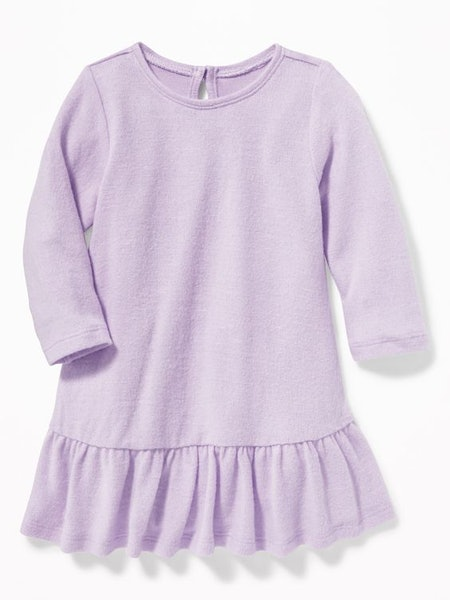 Plush-Knit Peplum-Hem Swing Dress for Baby