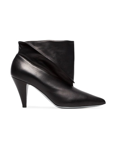Black 80 Foldover Leather Ankle Boots