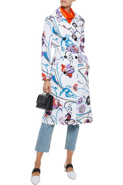 Floral-Print Cotton-Blend Faille Trench Coat