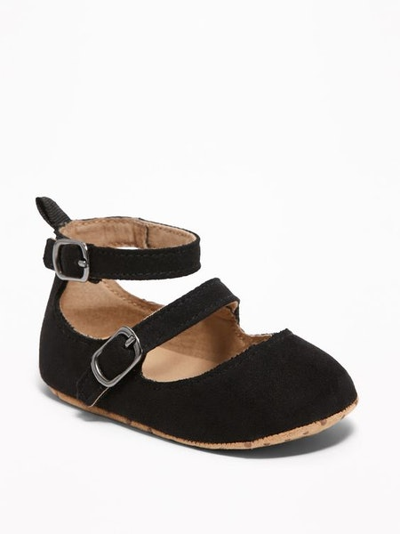 Faux-Suede Double-Strap Ballet Flats for Baby