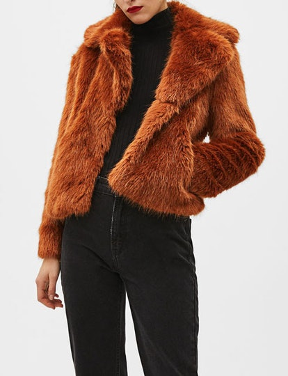 Short Faux Fur Coat With Lapel Collar