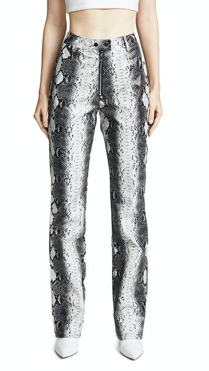 Brandy Snake-Embossed Faux Leather Pants